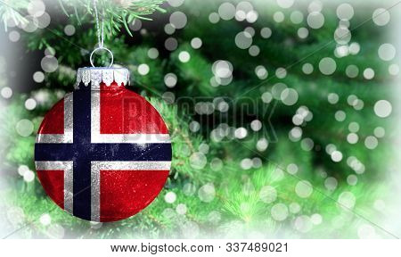 Christmas And New Year Background With A Flag Of Norway