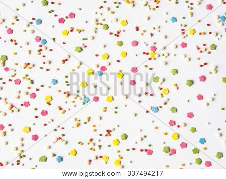 Colored Sugar Sprinkles Background, Sugar Sprinkle Dots, Decoration For Cake And Bakery, Lot Of Spri