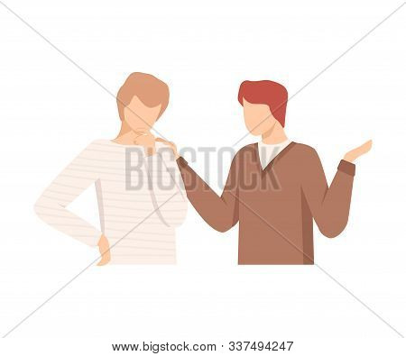One Man Encouraging Another By Putting Hand On His Shoulder Vector Illustration