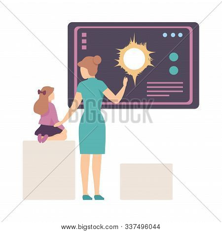 Young Woman Explaining Her Daughter Astronomical Facts And Notions In Planetarium Vector Illustratio