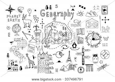 Symbols And Drawings For A School Geography Lesson, Set On A White Background. Hand Drawn Vector Doo