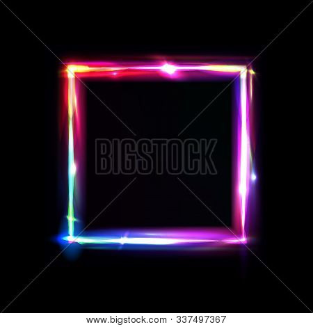 Neon Frame With Glow, Sign And Light Background. Square. Night Club Signboard With Empty Space For L