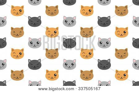 Cute Kawaii Cats Color Seamless Pattern On White Background. Kawaii Color Cats Repeating Texture For