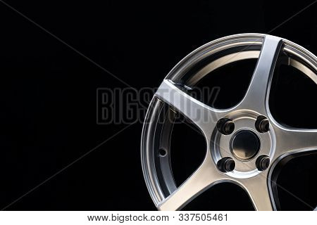 Car Alloy Wheel, Matt Blac Color, Sport Design And Ligh Weight, Close Up Copyspace