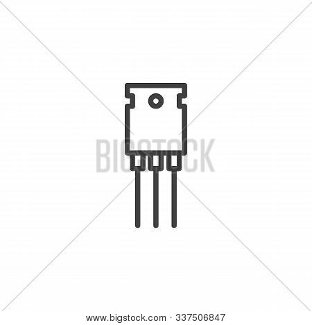 Electronic Transistor Line Icon. Linear Style Sign For Mobile Concept And Web Design. Semiconductor