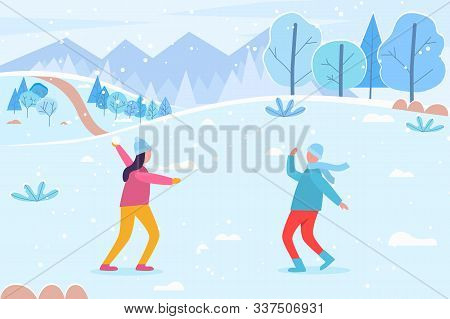 People Playing Snow Fight Game In Winter. Landscape With Snowy Peaks And Pine Trees. Girl And Boy Wi