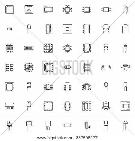 Computer Components Line Icons Set. Cpu Chip Linear Style Symbols Collection, Outline Signs Pack. Co