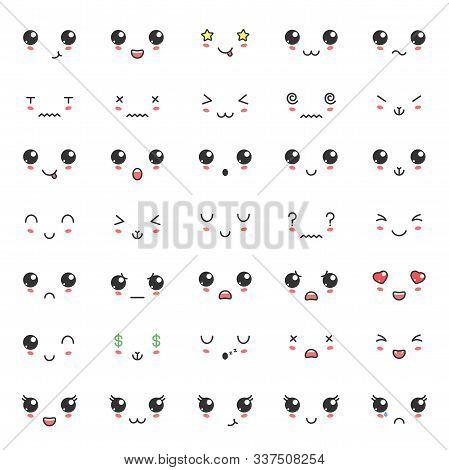 Kawaii Color Cute Faces. Kawaii Expressions Emoticons. Japanese Kawaii Emoji