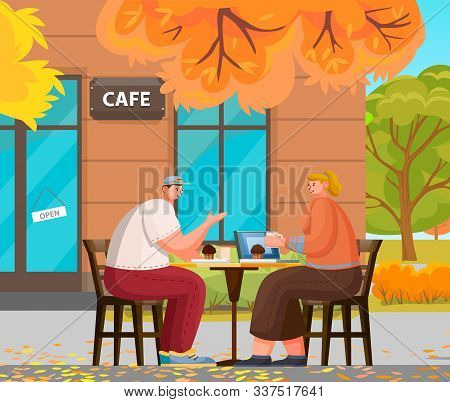 Man And Woman Romantic Day In Cafe. Couple Sitting On Terrace With Cup Of Hot Beverage And Brownie.