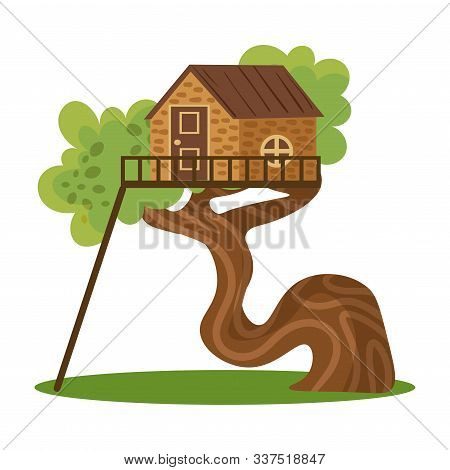 Wooden House Standing On Green Trees Winding Branch Vector Illustration