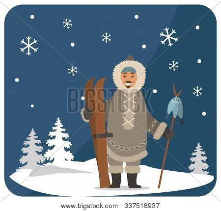 Smiling Eskimo Character In Fur Clothes Holding Wooden Stick With Fish On Snowy Landscape Near Fir-t