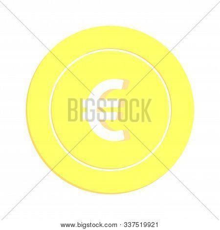 European Union Euro Coin Isolated On White Background. Eur Gold Yellow Coin. Europe Metal Money. Fla