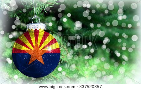 Christmas And New Year Background With A Flag State Of Arizona