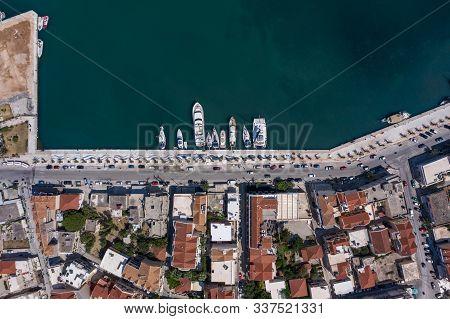 Overhead Aerial Drone Shot Of Argostolion Bund Street In Summer Afternoon In Kefalonia Island