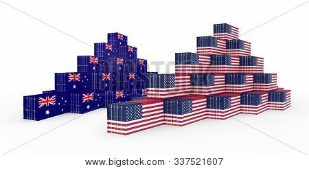 3d Illustration Of The Group Cargo Containers With Australia And United States Of America (usa) Flag