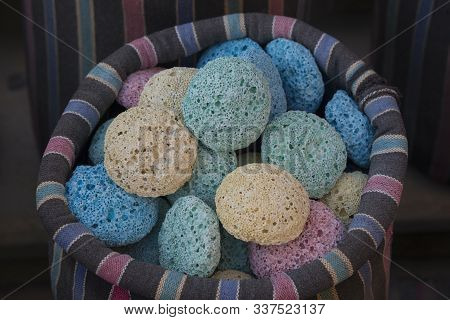 Multi-colored Pumice In A Motley Bag Is For Sale. Souvenir Products.