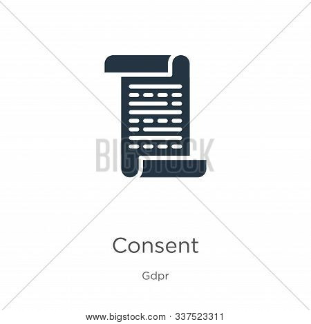 Consent Icon Vector. Trendy Flat Consent Icon From Gdpr Collection Isolated On White Background. Vec