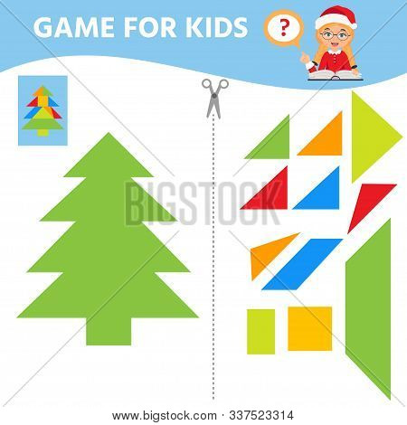 Game For Children. Educational Worksheet. Puzzle In Pine Or Christmas Tree Shape. Christmas Teme. Ac