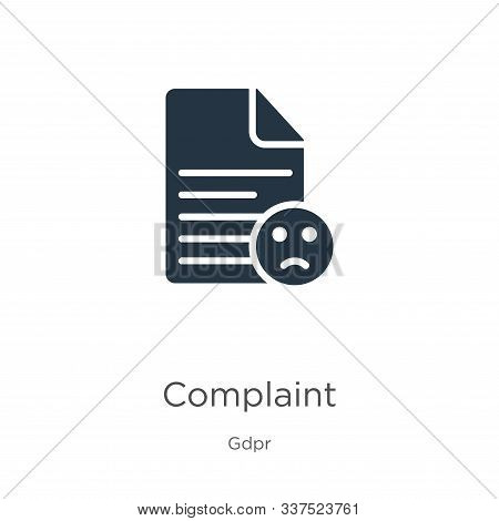Complaint Icon Vector. Trendy Flat Complaint Icon From Gdpr Collection Isolated On White Background.