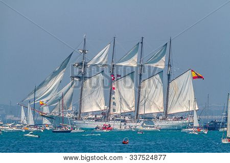 Cadiz, Spain - Jul 29: Spanish Navy Ship, Juan Sebastian De Elcano Setting Sail On The Tall Ship Rac