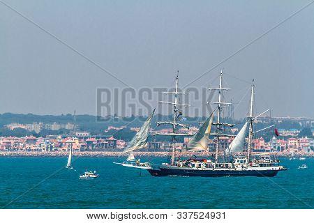 Cadiz, Spain - Jul 29: English  Ship, Lord Nelson Setting Sail On The Tall Ship Races 2012 On July 2