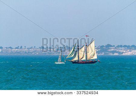 Cadiz, Spain - Jul 29: English  Ship, Johanna Lucretia Setting Sail On The Tall Ship Races 2012 On J