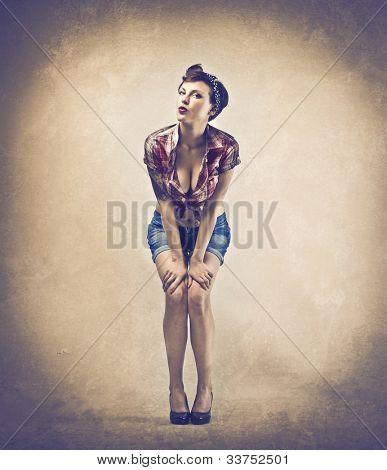 Beautiful woman dressed as a pinup girl