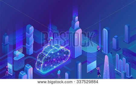 Cloud Computing Concept, Server, Smartphone, Modem, Futuristic City, Tablet Connected In Neural Netw