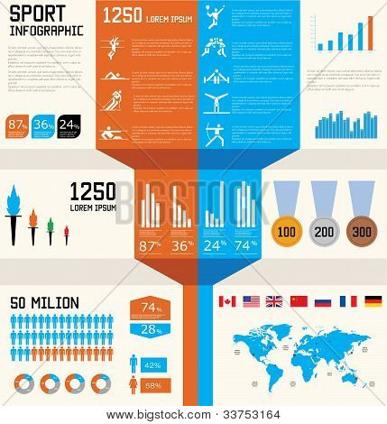 Sport  Infographic Set Vector Illustration. World Map And Information Graphics