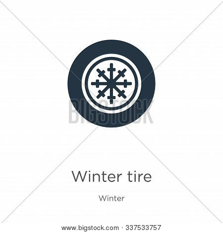 Winter Tire Icon Vector. Trendy Flat Winter Tire Icon From Winter Collection Isolated On White Backg