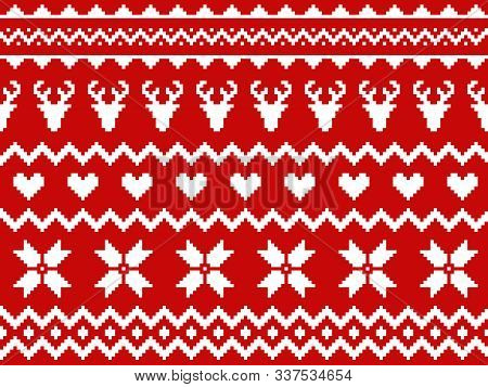 Nordic Traditional Seamless Pattern. Norway Christmas Sweater. Red And White Knitted Christmas Patte