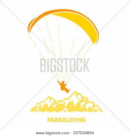 Paragliding Logo With Skydiver Flying Over Mountains, Parachutist Over Peak