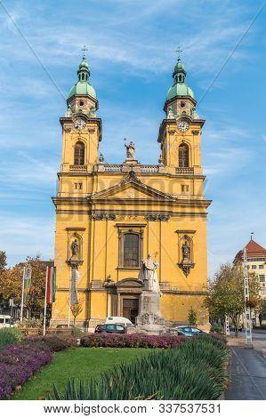 Beautiful Yellow Church In Budapest, Hungary. Religion.