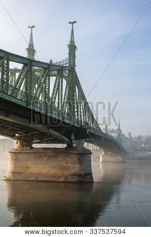 The Liberty Bridge In Budapest In Hungary, It Connects Buda And Pest Cities  Across The  Danube Rive