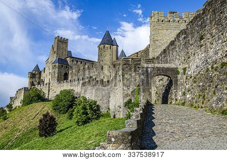 View Of The French Countryside Around The City Of Carcassonne Region Of Occitania. Aude France.
