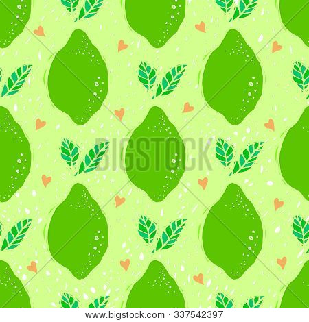 Lime Seamless Pattern. Seamless Pattern With Lime On Light Background. Fruit Lime Background.