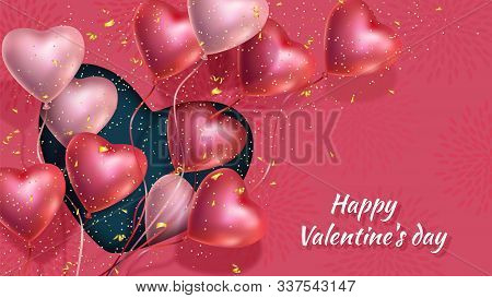 Happy Valentines Day Banner With 3d Red And Pink Heart-shaped Gel Balloons, Golden Confetti. Vector