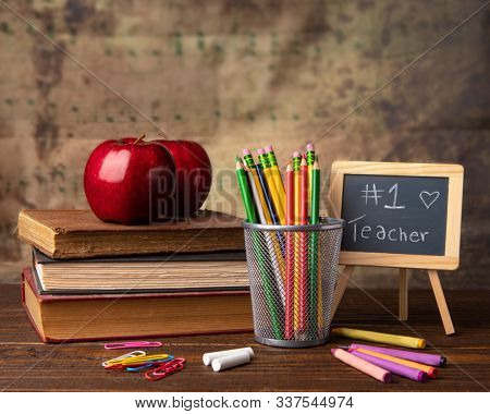 Teacher School Education Apple Red Pens Crayons Number One Teacher