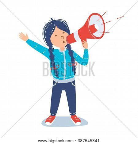 Girl Holding A Megaphone And Announcing. Loudspeaker Attention Concept. Shouting Child. Vector Carto