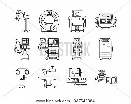 Medical Devices Line Black Icons Set. Mri, Anesthesia Machine, Syringe Pump, Dropper, Defibrillator,