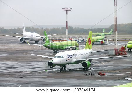 Moscow, Russia - September 30, 2019: S7 Airlines Airbus A319 In The Domodedovo International Airport