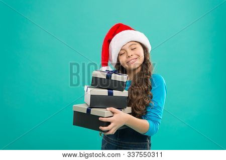 Happy New Year. Packaging For Gifts. Lot Presents. Christmas Celebrated Throughout Globe. Small Girl