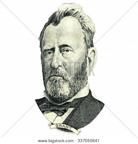 Portrait Of U.s. Statesman, Inventor, And Diplomat Ulysses S. Grant As He Looks On Fifty Dollar Bill