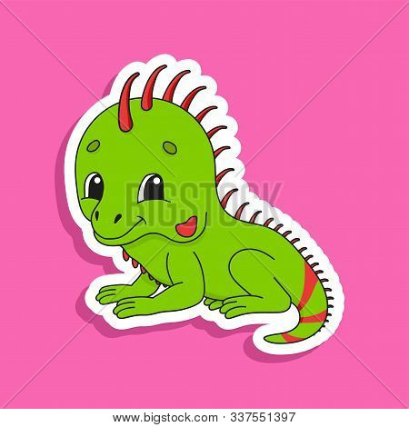 Green Iguana. Bright Color Sticker Of A Cute Cartoon Character. Flat Vector Illustration Isolated On