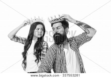 Man proud of daughter. Play game with daughter. Title and achievement. Fatherhood concept. Fun with daughter. Royal family. Man golden crown and kid. King and princess. Happy family white background. poster