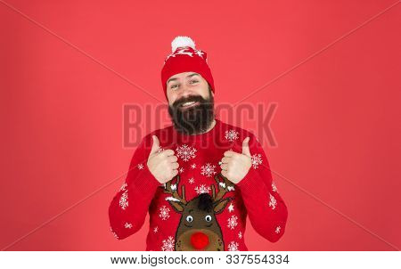 Feeling Awesome. Buy Festive Clothing. Sweater With Deer. Hipster Cheerful Bearded Man Wear Winter S