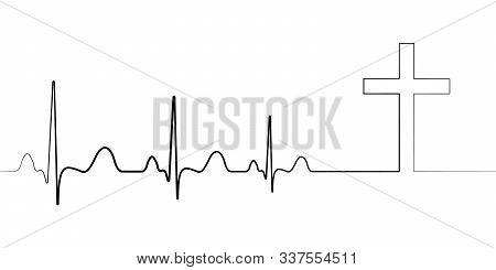Death Icon Symbol Cardiac Arrest, Vector Cardiogram With Cross, Concept Of Death Path To Faith Condo