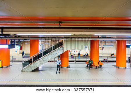 BRUSSELS, BELGIUM - August 27, 2017: Brussels subway station is a rapid transit system serving a large part of the Brussels
