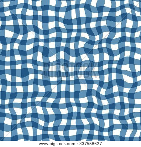 Distorted Gingham Blue And White Wavy Line Pattern