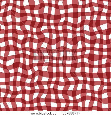 Distorted Gingham Red And White Wavy Line Pattern